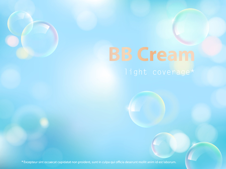 Advertising poster for cosmetic product, perfect bb cream providing light coverage, defocused blue background with colorful soap bubbles. Vector realistic design for packaging