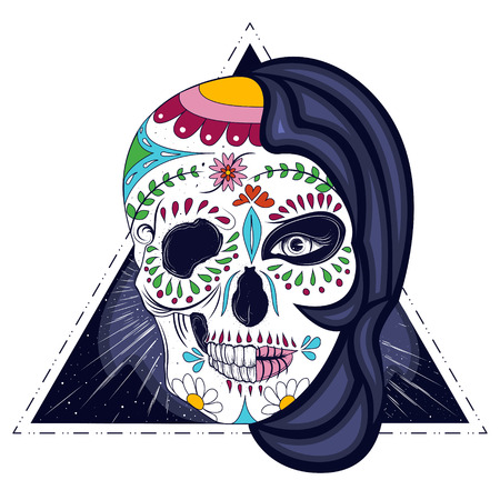Woman with hand drawn skull face design vector illustration. Illustration