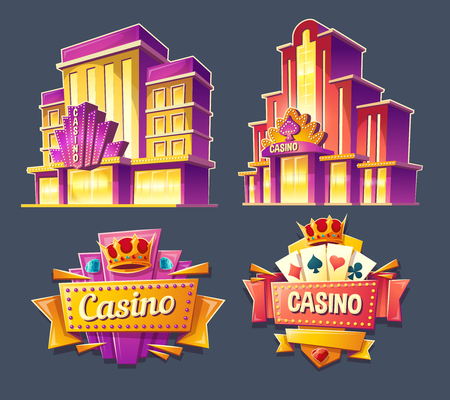 Set of vector cartoon badges, stickers, tags of casino buildings and retro signboards.