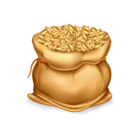 Borsa di tela realistico vettoriale pieno di cereali o cereali, raccolto di grano, segale, orzo. Archivio Fotografico - 89266229