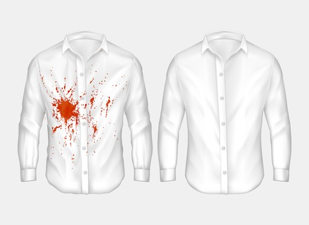 Blood stain on white long sleeves.
