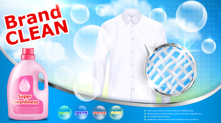 Vector realistic banner with detergent stain remover in pink plastic bottle on blue background with white shirt soap bubbles and close-up of fiber structure. Mockup package design laundry detergent ad