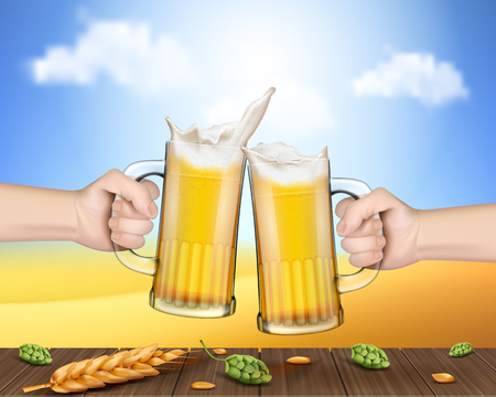 Two vector realistic hands holding glass mugs with beer raised in a festive toast over a wooden table with ears of barley and cones of hops. Two pints of cold foamy craft light beer Illustration