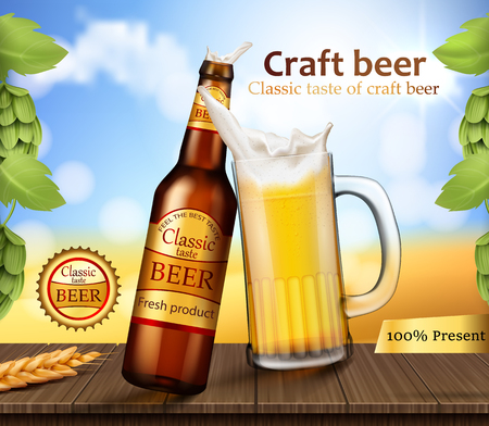Vector realistic brand labeled brown glass bottle and mug with foamy beer stand on wooden table with barley ears and hops near the grass field. Poster template for classic craft beer ad package design
