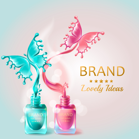Vector realistic 3d cosmetic background, open bottles with nail polish with splashes in form of butterflies. Mock up, template packaging design with brand information, promo poster for nail lacquer
