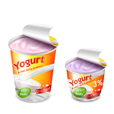 Vector 3D realistic packing for yogurt isolated on white background. Packing template, large and small plastic cup for yogurt with open lid, yellow-orange branded design