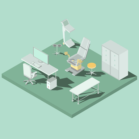 Vector isometric gynecology room with gynecological chair, couch, diagnostic equipment, desk and computer. Concept of early infertility diagnosis, taking care of womens health, pregnancy planning