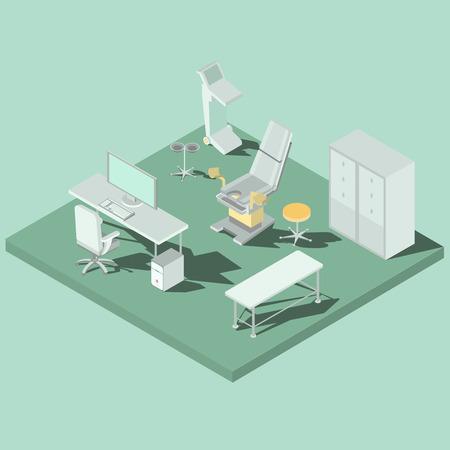 Vector isometrische gynaecologieruimte met gynaecologische stoel, laag, kenmerkend materiaal, bureau en computer. Concept vroege onvruchtbaarheidsdiagnose, zorgend de gezondheid van vrouwen, zwangerschaps planning