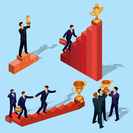 illustration of 3D flat isometric people. Businessman goes up the stairs. Concept of business growth, career ladder, the path to success.