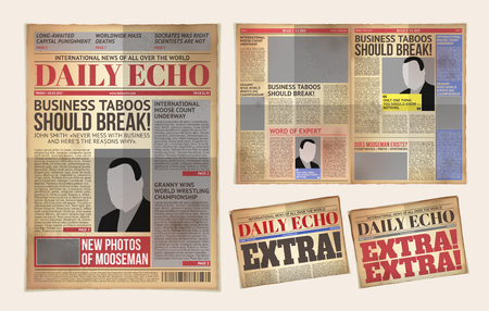 illustration of an old daily newspaper template, retro tabloid, layout posting reportage Stok Fotoğraf
