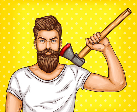 pop art illustration of a brutal bearded man, macho with an ax in his hand Stock Photo