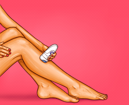 pop art illustration of beautiful well-groomed female legs with electric epilator. The concept of body care, hair removal, epilation at home, beauty