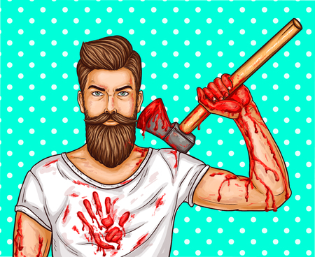 pop art illustration of a brutal bearded man, macho with blood stained ax, bloody streaks and stains on hands and a T-shirt