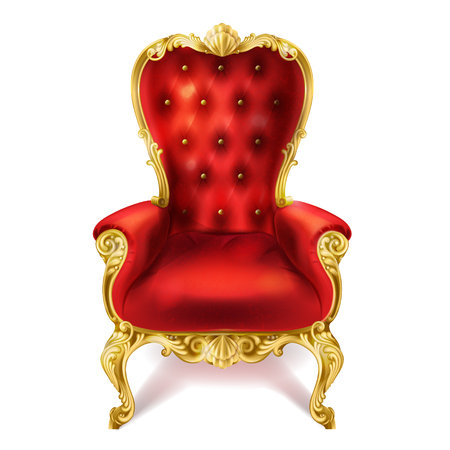 Vector illustration of an ancient red royal throne isolated on white background in realistic style. Gilded antiquarian armchair, exclusive old carved furniture with velvet seat.