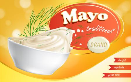 Mayonaisemerk in een plaat met een met laag vetgehalte en tekst ernaast in een realistische stijl, vectorillustratie. Advertentie, voorbeeld, sjabloon.