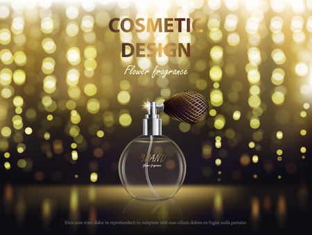 Cosmetic background with round glass spray bottle with perfume. Vector realistic design for package, banner for promote luxury fragrance for perfect look. Illustration