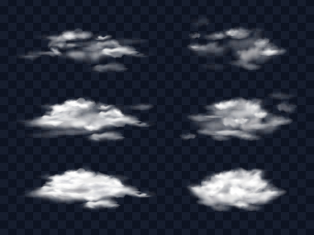 Set of transparent white clouds in a realistic style isolated on a transparent background, vector illustrations. Template, element for design for weather forecast.