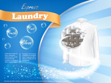 繊維構造と青の背景、ベクトル現実的なバナーにシャボン玉のアップで汚れた白シャツ。モックアップ パッケージ デザイン ランドリー洗剤広告
