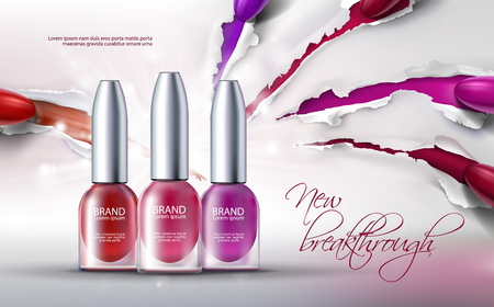 illustration of a realistic style collection of colored nail polish on a scratched paper background. Excellent advertising posters for promoting of premium product, new breakthrough