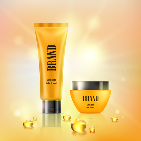 3D illustration poster with anti-aging cosmetic premium products, light background with beautiful yellow tube and jar and collagen capsules in a realistic style