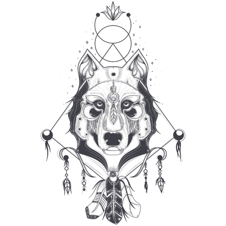 illustration of a front view of a wolf head, geometric sketch of a tattoo, print. Abstract ethnic tribal pattern.
