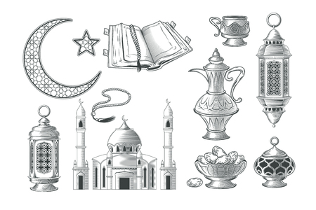 Set of muslim illustrations, icons for prayer and ramadan kareem in the style of engraving. Print, template, design element Archivio Fotografico