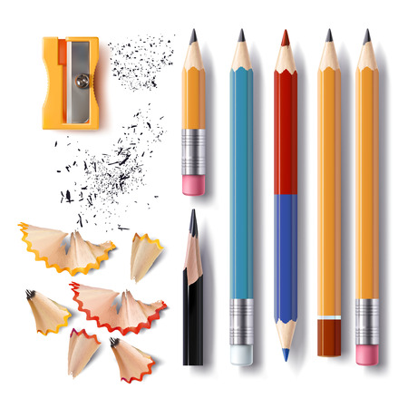 Set of illustrations in realistic style sharpened pencils of various lengths with a rubber and without, a sharpener, pencil shavings and a graphite isolated on white