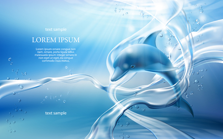 illustration banner with flows, bubbles of crystal clear water and dolphin on light blue background