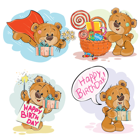 Set of clip art illustrations of brown teddy bear wishes you a happy birthday. Print, template, design element for greeting cards Stockfoto