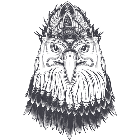 Eagle head with feather comb, art drawn vector illustration isolated on white background. Predatory bird with pagan ornament for tattoo, print Zdjęcie Seryjne - 90072300