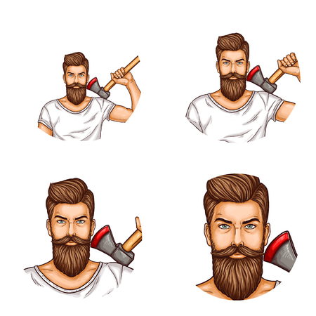 Round vector male avatars for users of social networks, internet blogs, web sites, vector pop art icons. Bearded man in a white T-shirt with an ax. Illustration