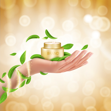Advertising poster with perfect cosmetic product in open golden box lying on a womans hand, defocused bright background with golden sparkling sequins and green leaves. Vector realistic design