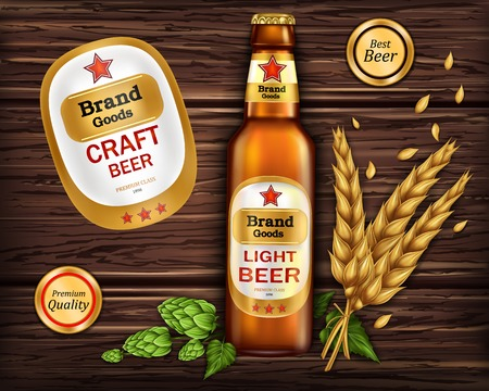 Brand labeled brown glass bottle with light beer on wooden background with ingredients, barley ears and hops, vector realistic. Poster template for classic craft beer, ad package design