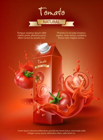 Tomato juice ad poster design. Ilustracja