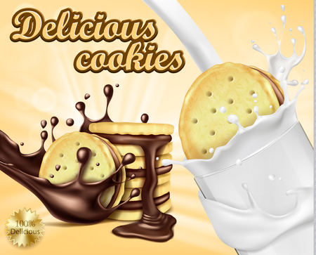Mock up packaging, ad for chocolate sandwich cookies, realistic vector illustration. Cookies with filling, pouring melted chocolate, lying wheat ears, sweet crispy cookies and glass of milk