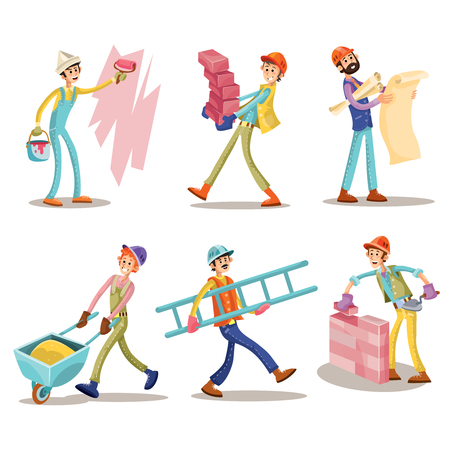 Construction workers, vector funny cartoon set. Mason is laying brickwork, foreman with architectural project, painter is painting wall, other workers are carrying brick and ladder, roll wheelbarrow Vettoriali