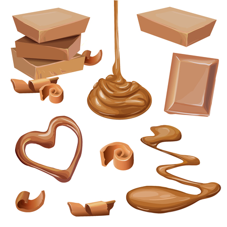 Chocolate in a tile, shavings, melted, liquid, curled on a white background. Set of vector realistic illustrations. Print, mock up, design element.