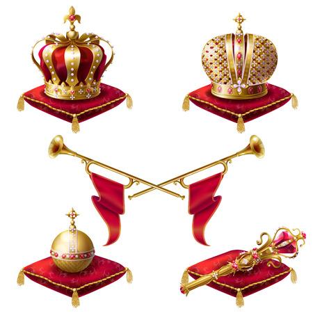 Coronas de oro real con joyas, fanfarrias, cetro y orbe sobre almohadas de terciopelo rojo, conjunto de iconos realistas vector aislado sobre fondo blanco. Elementos heráldicos, símbolos monárquicos Foto de archivo - 90513969