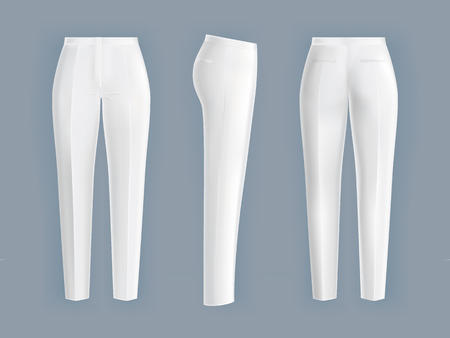 Shiny clean white women's pants realistic on a gray background. Women's formal pants in front, back and side view, design element.