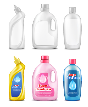 Plastic bottles for cleaning products, set of realistic vector illustration isolated on white background. Packing template for household chemicals 스톡 콘텐츠