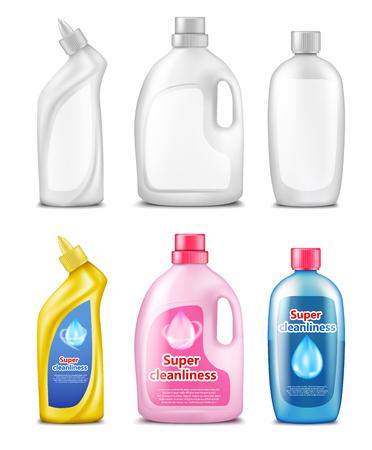 Plastic flessen voor het schoonmaken van producten, reeks van realistische vectordieillustratie op witte achtergrond wordt geïsoleerd. Verpakkingsmalplaatje voor huishoudelijke chemicaliën