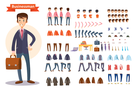 Set of cartoon illustrations for creating a character, businessman.