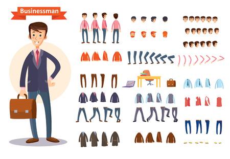 Hombre, personaje de empresario creando conjunto de vectores de dibujos animados. Colección de caras, vista frontal, lateral y posterior, emociones, manos y pies doblados en diferentes posiciones, ropa formal y casual y accesorios
