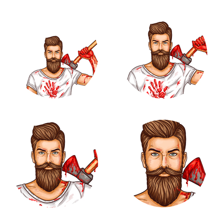 Round vector avatars for users of social networks, internet blogs, websites, vector icons of pop art. A bearded man in a white T-shirt with an ax with blood stains on them.