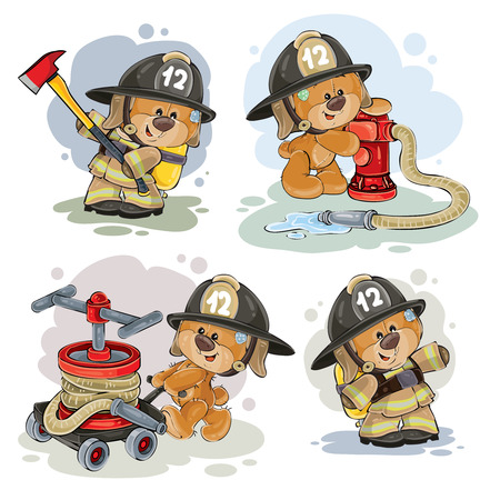 Clipart illustration of a teddy bear firefighter with rescue equipment, hose, hydrant and in uniform isolated on white. Polygraphy, design elements.