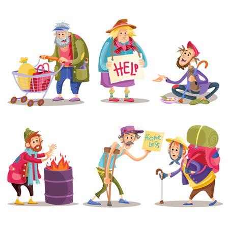 Bedelaars, daklozen, zwervers, hobo, grappige vector cartoon set geïsoleerd op een witte achtergrond. Hobo met winkelwagen, bedelaar op straat, dakloze man warmt zichzelf op bij het vuur, zwerver met kruk