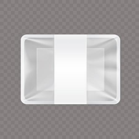 Vectorillustratie van een lege plastic die voedselcontainer op een transparante achtergrond wordt geïsoleerd. Lege voedsel en snack verpakking, mock-up sjabloonontwerp klaar voor branding. Stock Illustratie