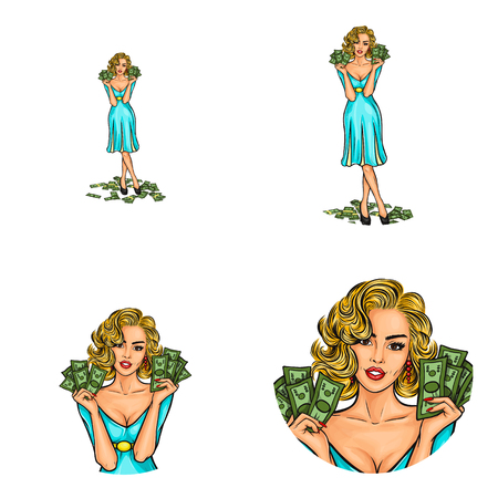 Set of vector pop art round avatar icons for users of social networking, blogs, profile icons. Girl blonde is holding the cash money Vectores