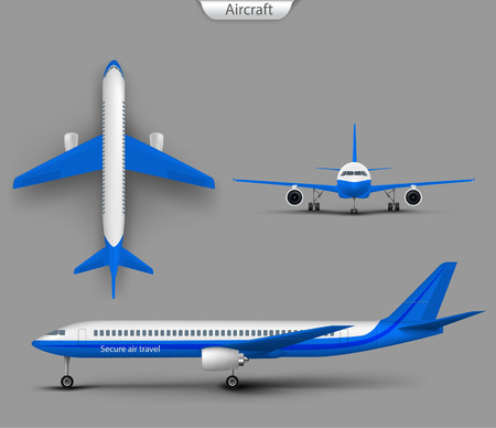 White commercial passenger airplane or personal business jet top, front, side view realistic vector isolated on gray. Civil aviation landed, aircraft template for tourism and travel concept design