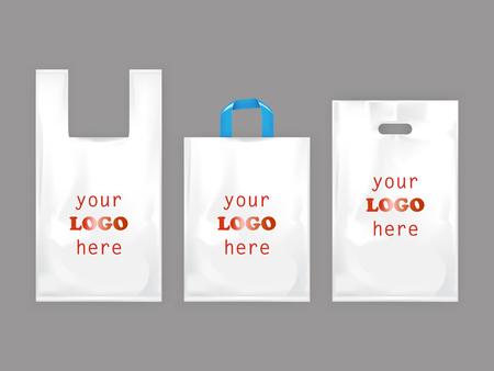 White plastic shopping bags, disposable T-shirt bag packaging, set vector realistic illustrations isolated on gray background. Mock up, template ready for brand design